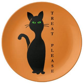Plato De Porcelana Las invitaciones satisfacen el gato