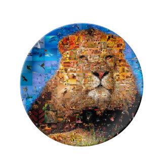 Plato De Porcelana león - collage del león - mosaico del león - león
