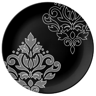 Plato De Porcelana Línea blanca negro gris del arte I del damasco de