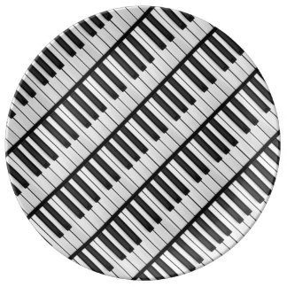 Plato De Porcelana Llaves negras y blancas del piano