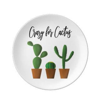 Plato De Porcelana Loco para la placa de la porcelana del cactus