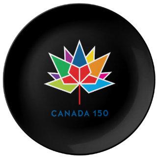 Plato De Porcelana Logotipo del funcionario de Canadá 150 -