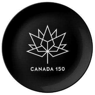 Plato De Porcelana Logotipo del funcionario de Canadá 150 - blanco y