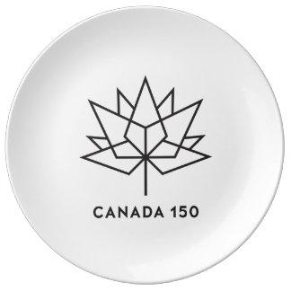 Plato De Porcelana Logotipo del funcionario de Canadá 150 - esquema