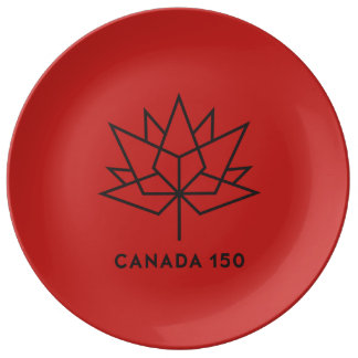 Plato De Porcelana Logotipo del funcionario de Canadá 150 - rojo y