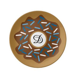 Plato De Porcelana Los anillos de espuma del invierno con el azul