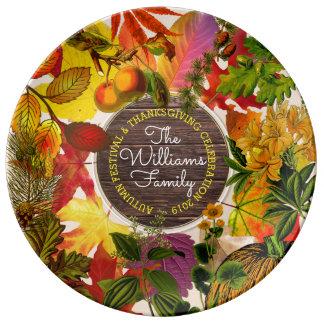 Plato De Porcelana Madera del vintage del collage de las hojas de