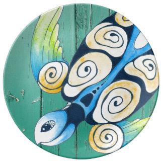 Plato De Porcelana madera verde de la tortuga