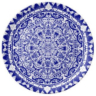 Plato De Porcelana Mandala azul marino de Mehndi