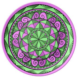 Plato De Porcelana Mandala del añil