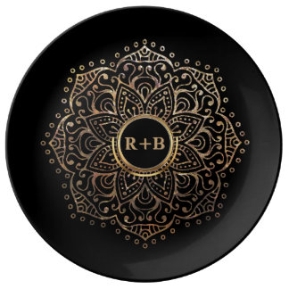 Plato De Porcelana Mandala negra del monograma del boda del oro de
