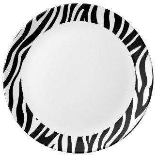 Plato De Porcelana Modelo blanco y negro de las rayas del estampado