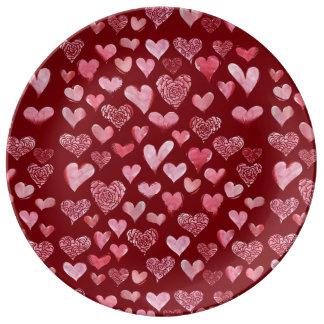 Plato De Porcelana modelo de los corazones