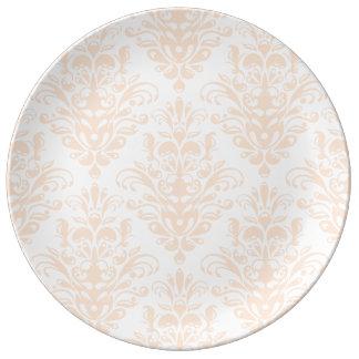 Plato De Porcelana Modelo elegante rosado y blanco coralino pálido