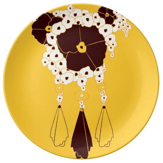 Plato De Porcelana Modelo NO.3: Placa floral abstracta de la