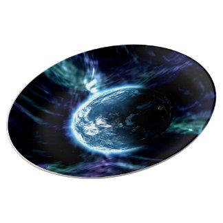 Plato De Porcelana Nebulosa estrellada de la aurora del espacio