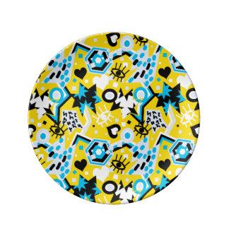 Plato De Porcelana Observe el modelo amarillo brillante fresco del