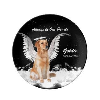 Plato De Porcelana Perro conmemorativo del ángel del mascota -