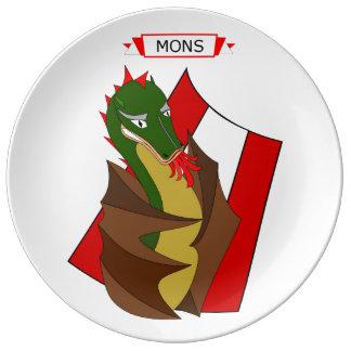 Plato De Porcelana Personnage del dragón de Mons Doudou, Bélgica