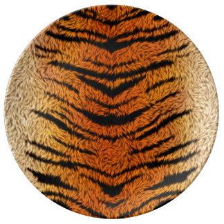 Plato De Porcelana Piel del animal del tigre de Bengala