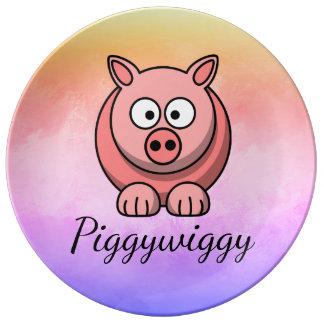 Plato De Porcelana PiggyWiggy poco cochinillo lindo en colores pastel