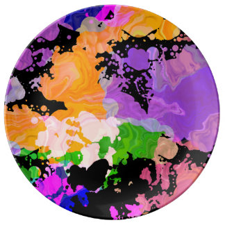 Plato De Porcelana Pinte la placa de la impresión de la salpicadura