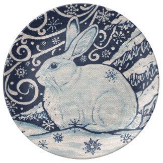 Plato De Porcelana Placa azul y blanca del navidad del invierno de la