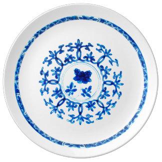 Plato De Porcelana Placa blanca azul