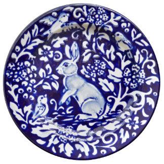 Plato De Porcelana Placa bonita floral de la porcelana del conejo