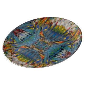 Plato De Porcelana Placa de Abstractorcelan de los vitrales