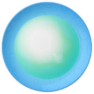 Plato De Porcelana Placa de cena bonita del diseñador 3D del azul de