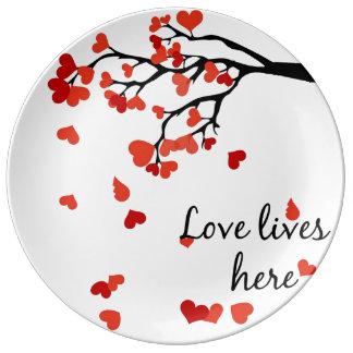 Plato De Porcelana Placa de la decoración del árbol del corazón que
