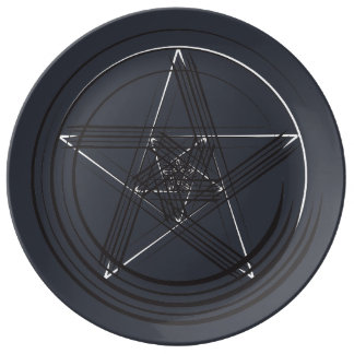 Plato De Porcelana Placa de la estrella de la pluma de B&W