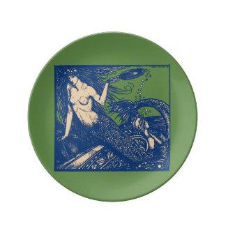 Plato De Porcelana Placa de la porcelana de la sirena y del espejo