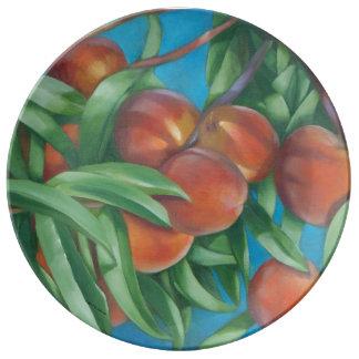 Plato De Porcelana Placa de la porcelana de los melocotones