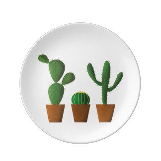 Plato De Porcelana Placa de la porcelana del cactus