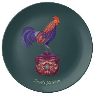 Plato De Porcelana Placa de la porcelana del gallo