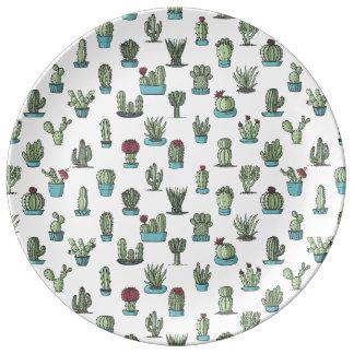 Plato De Porcelana Placa de la porcelana del modelo del cactus