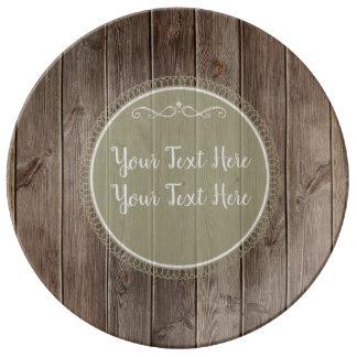 Plato De Porcelana placa de madera rústica
