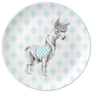 Plato De Porcelana Placa decorativa de la porcelana de la alpaca
