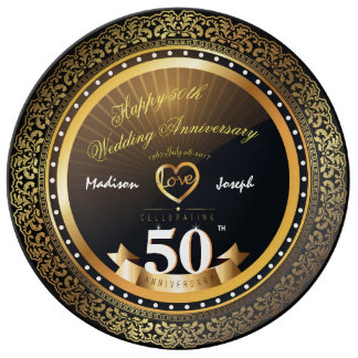 Plato De Porcelana Placa decorativa de la porcelana del aniversario