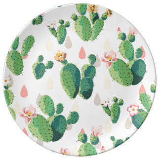 Plato De Porcelana Placa decorativa del cactus precioso suculento