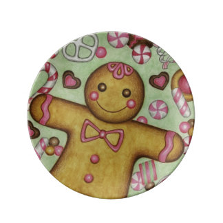 Plato De Porcelana Placa decorativa del pan de jengibre del navidad