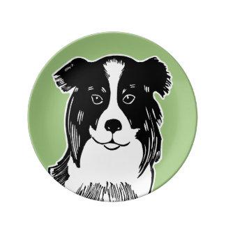 Plato De Porcelana Placa decorativa verde de la porcelana del border