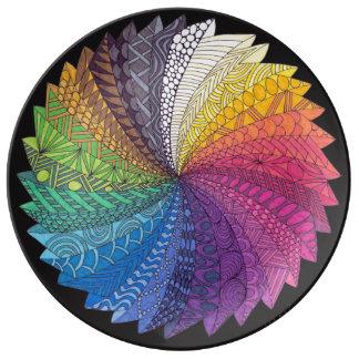 Plato De Porcelana Placa del flujo del arco iris
