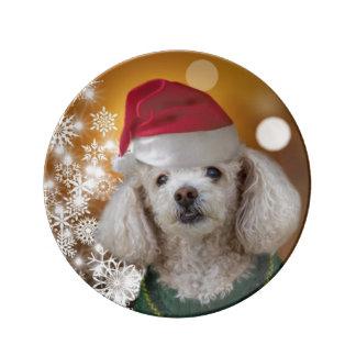 Plato De Porcelana Placa del perro de caniche del navidad