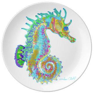 Plato De Porcelana Placa del Seahorse