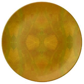 Plato De Porcelana Placa del servicio de mesa en araña amarilla