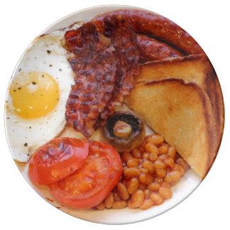 Plato De Porcelana Placa divertida del desayuno inglés lleno de la