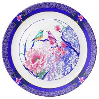 Plato De Porcelana Placa floral asiática
